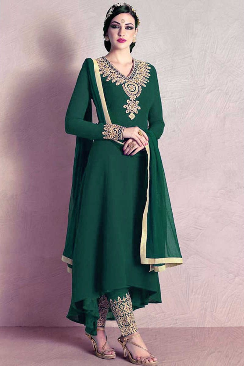 870e31c30e Buy Zari Embroidered Georgette Green Straight Pant Suit Online ...