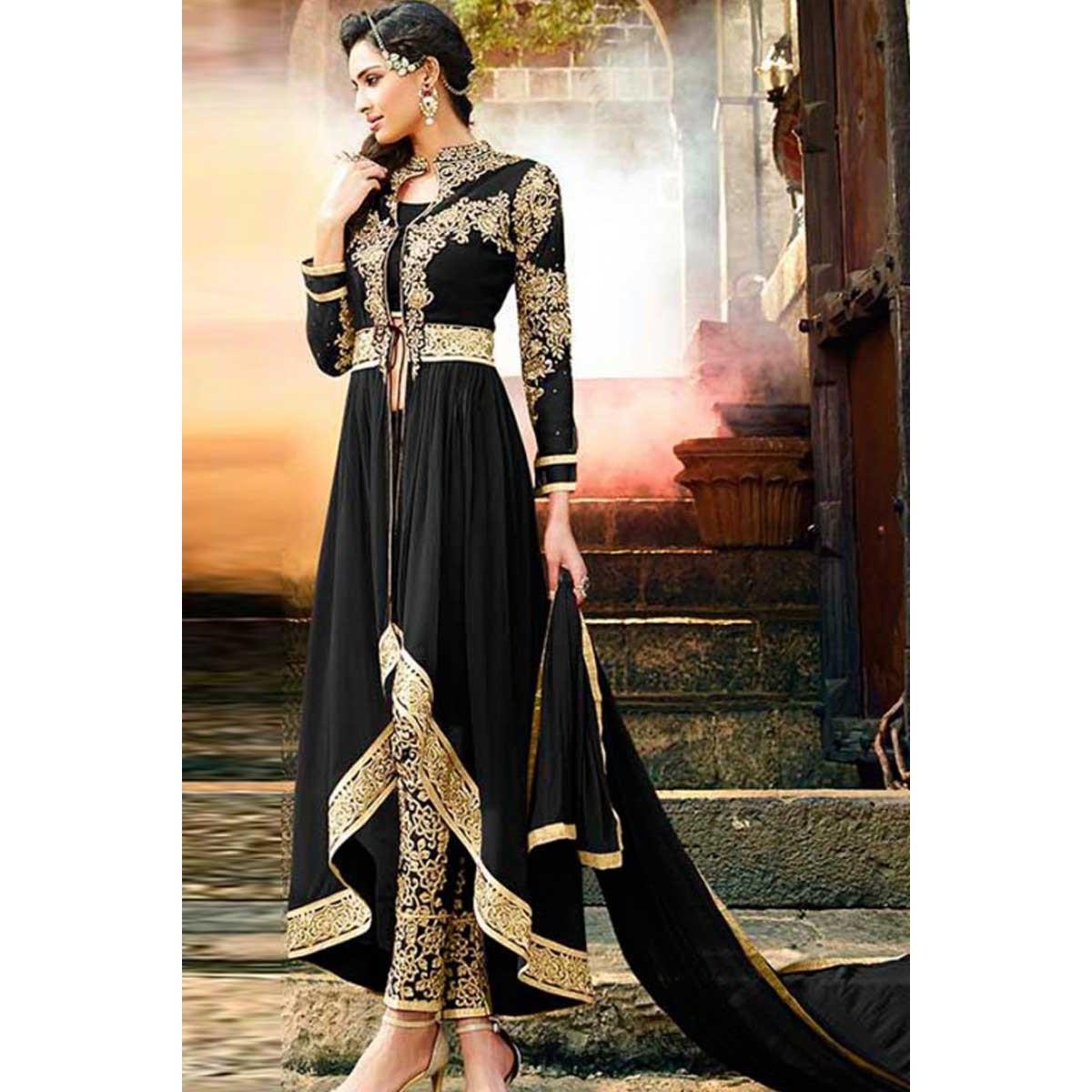 1689f82a42 Buy Black Georgette Trail Cut Anarkali Suit With Cigarette Pant Online -  dmv13914 | Andaaz Fashion