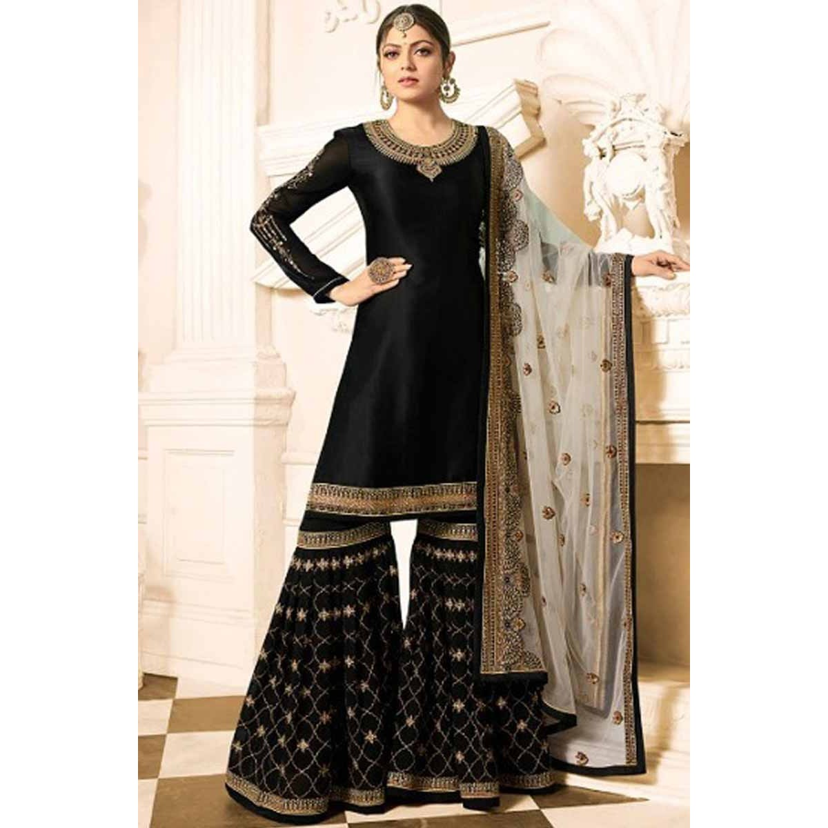 5a0af1bf4d Buy Resham Embroidered Satin Black Sharara Suit Online - lstv01615 | Andaaz  Fashion