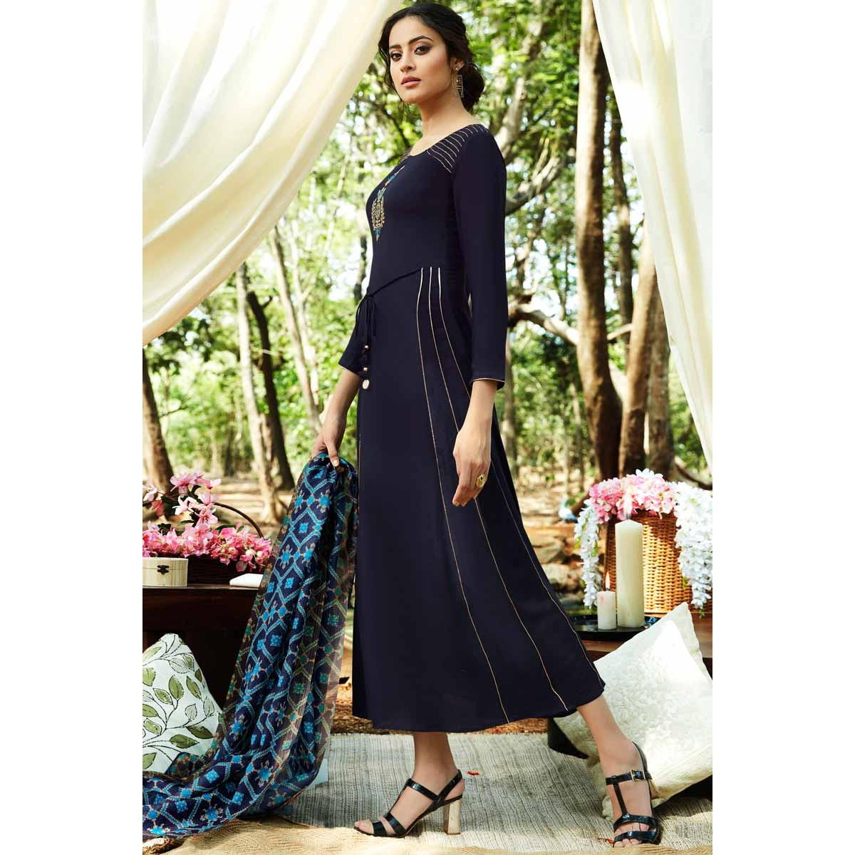 5f3a8cd360 Buy Attractive Silk Anarkali Suit In Blue Color Online - lstv01748 | Andaaz  Fashion