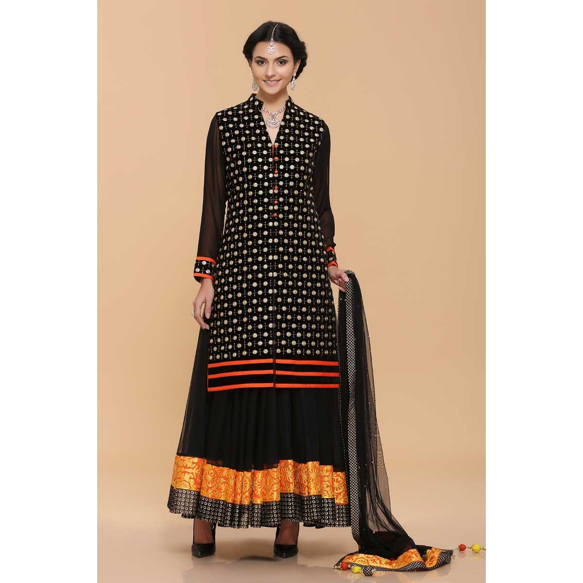 604bd9b66a Buy Black Net Lengha Suit Online - 1654 | Andaaz Fashion