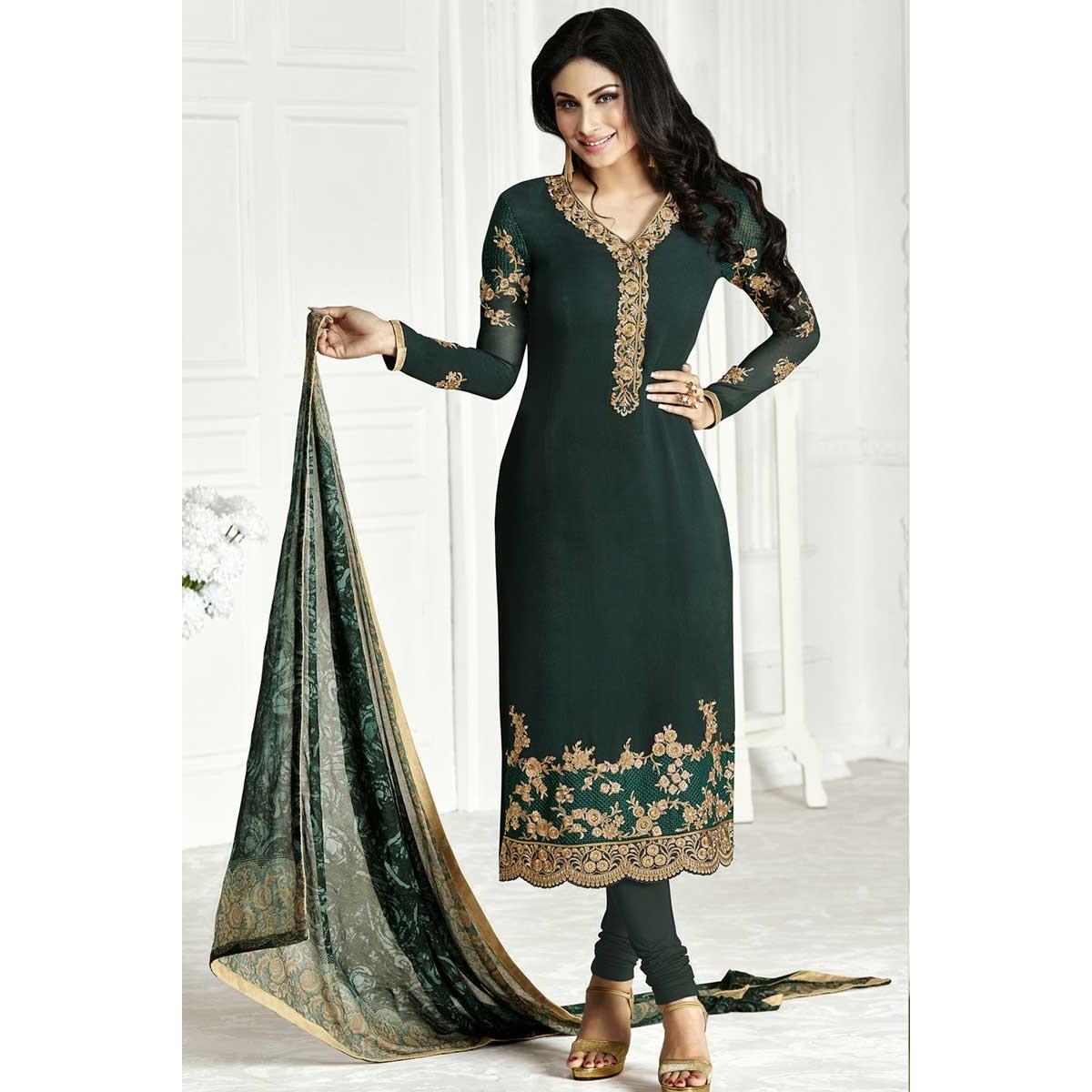 88cf49798e Online Sale Churidar Georgette Suits, Dark Green Resham Embroidered Attires