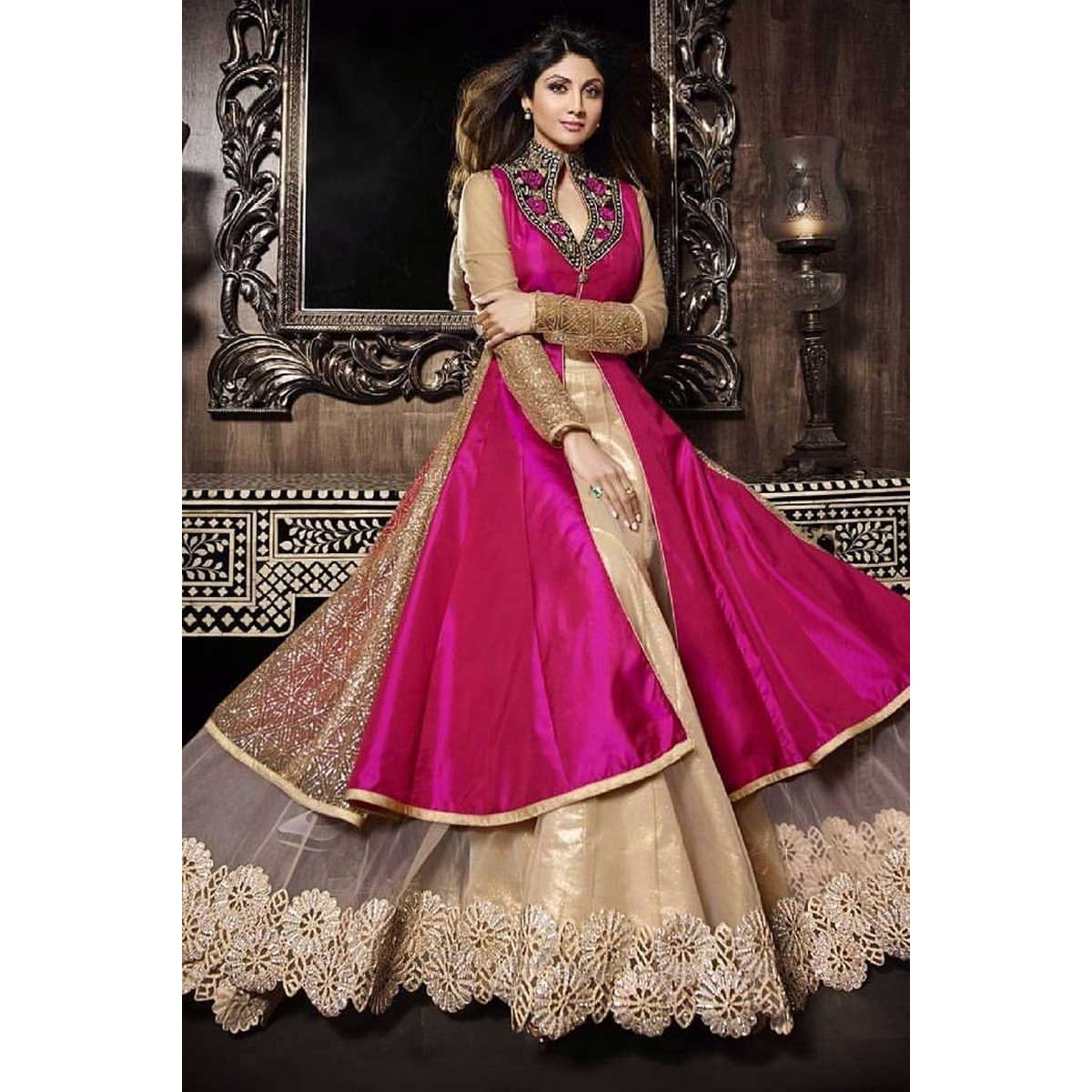 da0dc434c4 Buy Magenta Taffeta Silk Jacket With Beige Net Lehenga Online ...