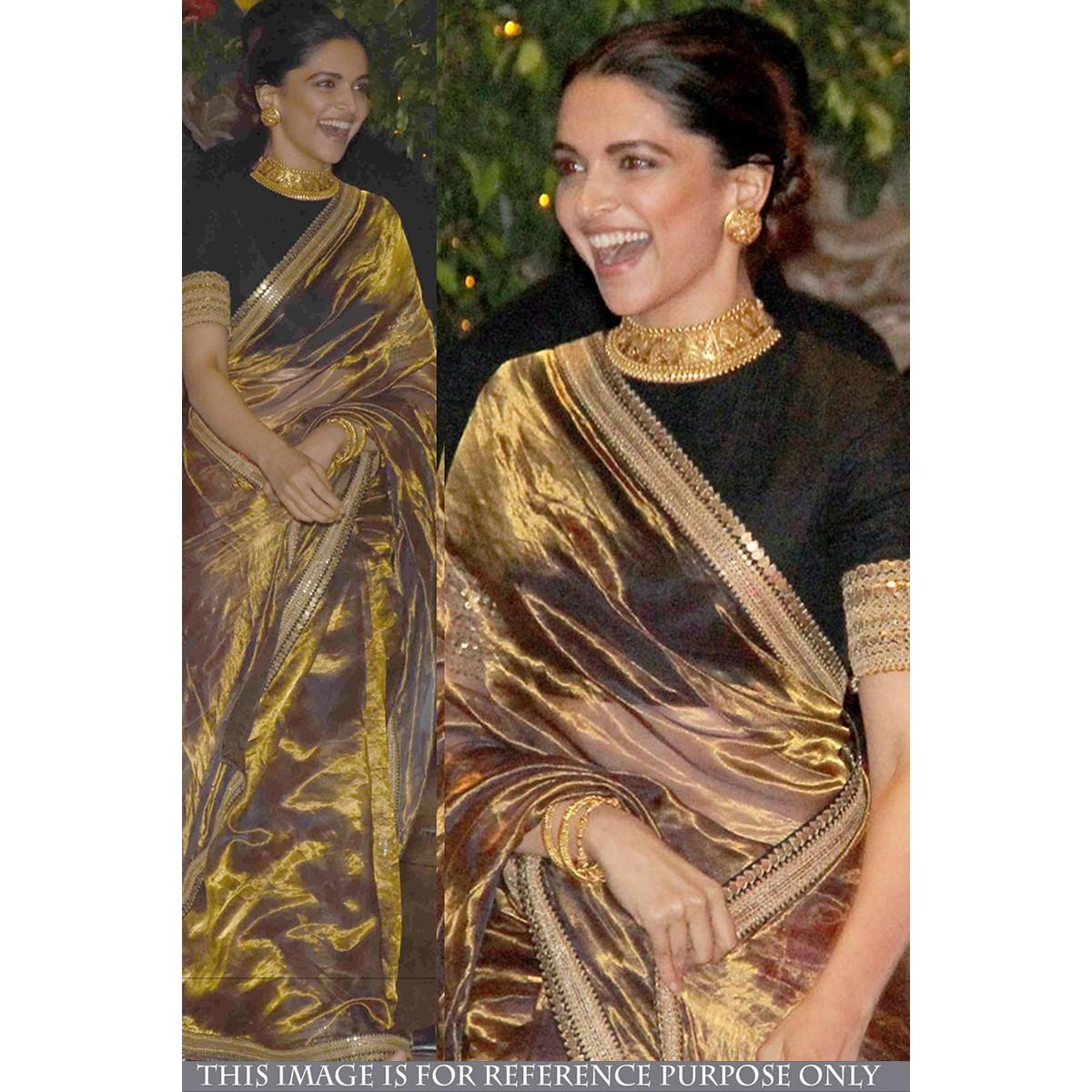 Buy online saree, Deepika Padukone Beige silk festival ...