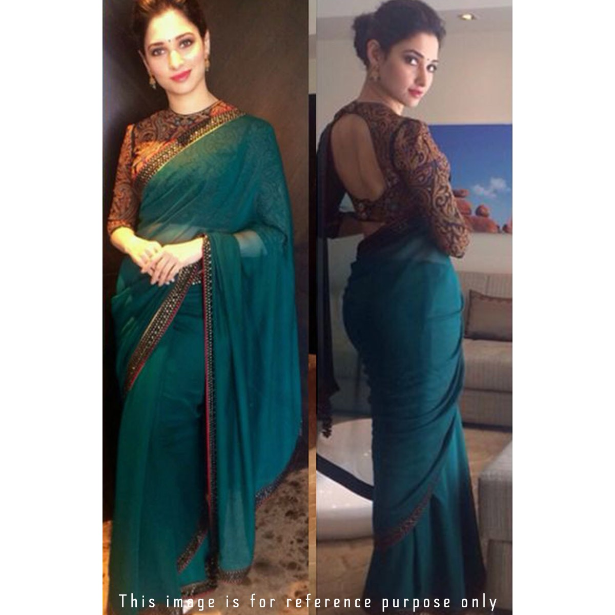 Buy Tamanna Bhatia Teal Green Georgette Saree With Blouse