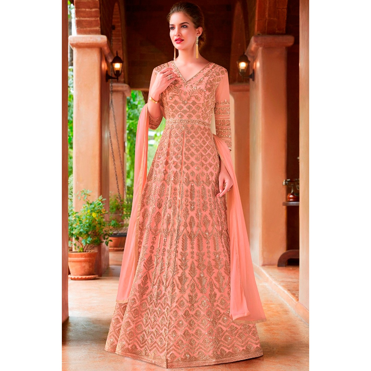 0bc212fb4aa Buy Suits silk Pink anarkali suit LSTV01302