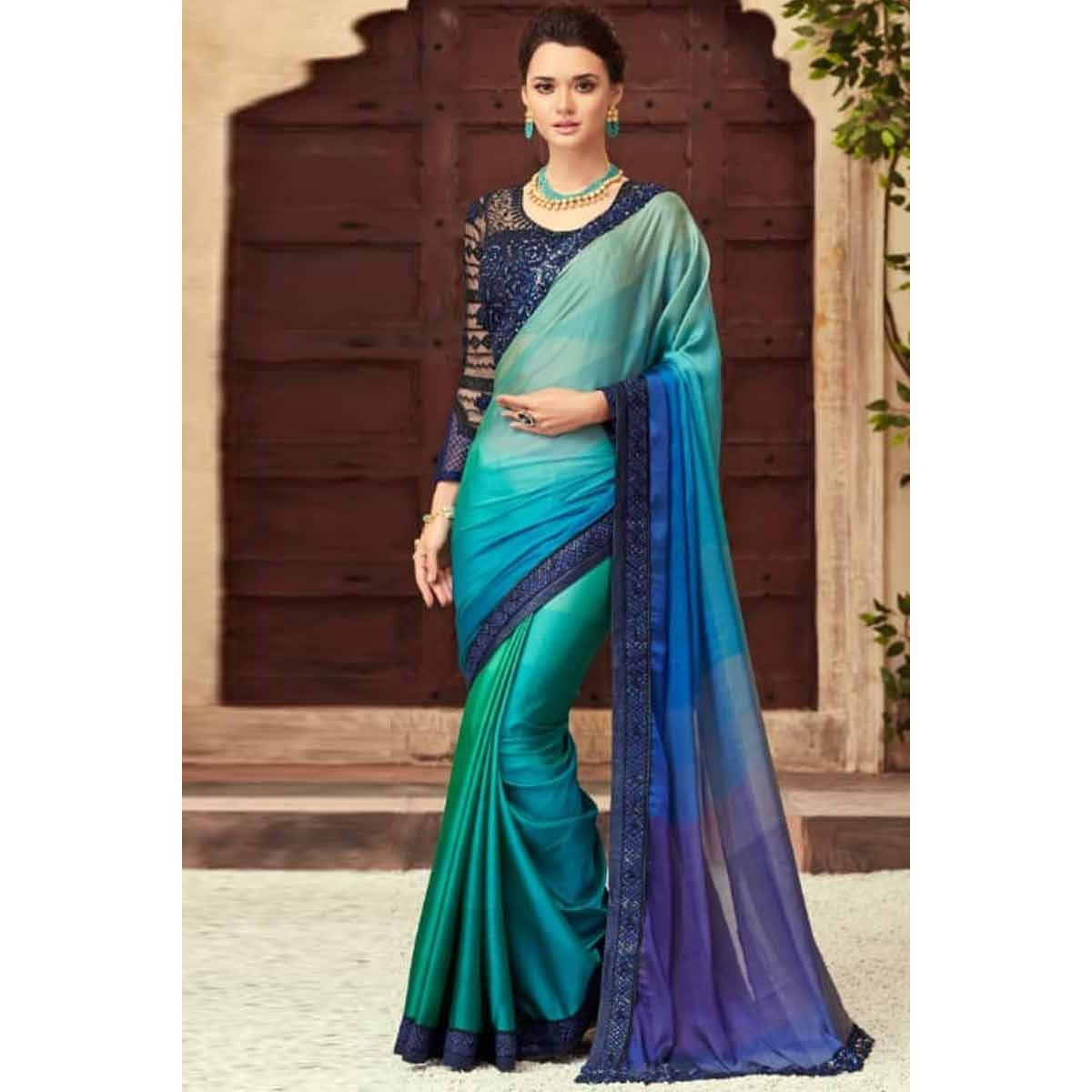 6782d53b42 Buy Peacock Color Silk Saree With Silk Blouse Online - SARV0956 | Andaaz  Fashion