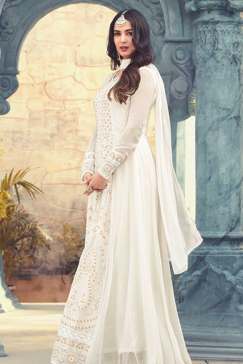 e6003c7a9f Buy Anarkali Suit In White Color With Resham Embroidered Online ...
