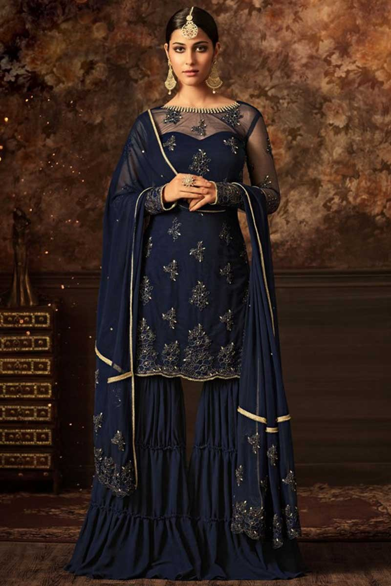 4fb2d8c2a6 Buy Blue Net Embroidered Sharara Suit Online - LSTV0879 | Andaaz Fashion