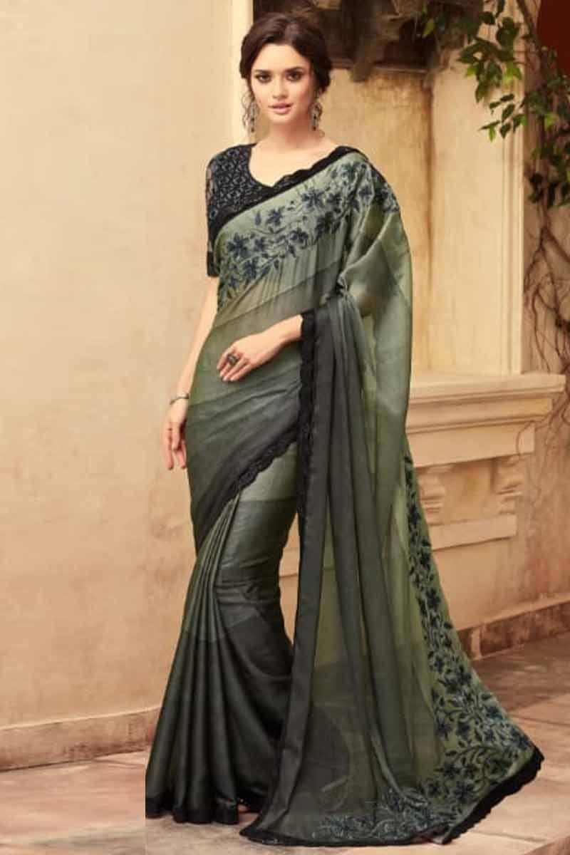6ad4111d5355fb Buy Light Bronze Green Silk Saree with Silk Blouse Online - SARV0948 ...
