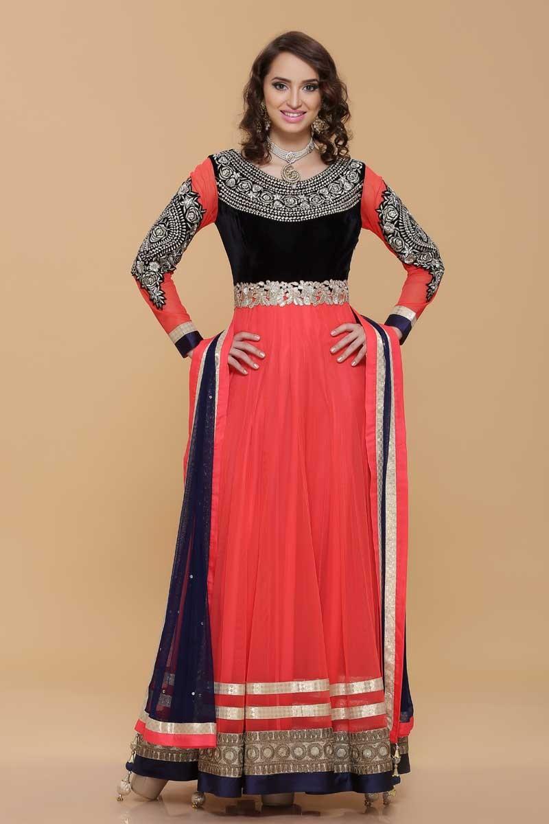 Pink Net Saree: Pink Net Long Anarkali Suit, Asian Girls Dresses