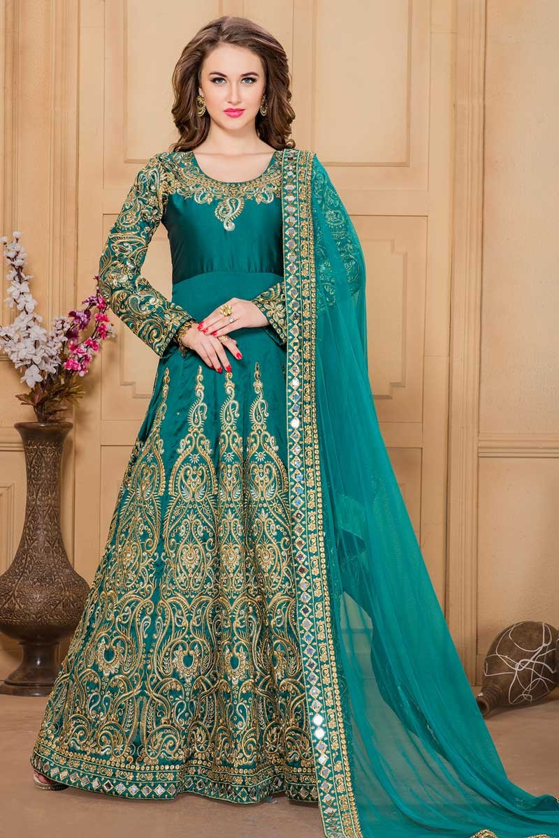Wedding Teal Green Silk And Taffeta Anarkali Suit - Dmv14543