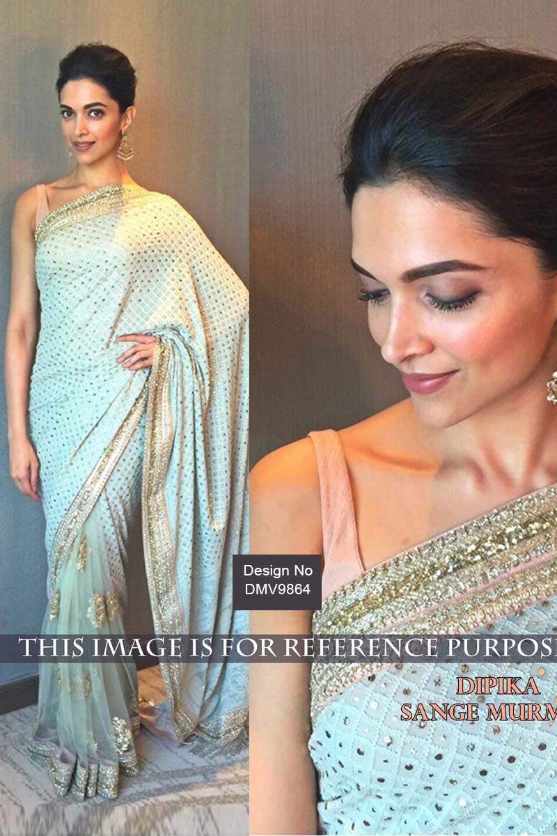 Deepika Padukone Bollywood Light Blue Georgette Latest ...