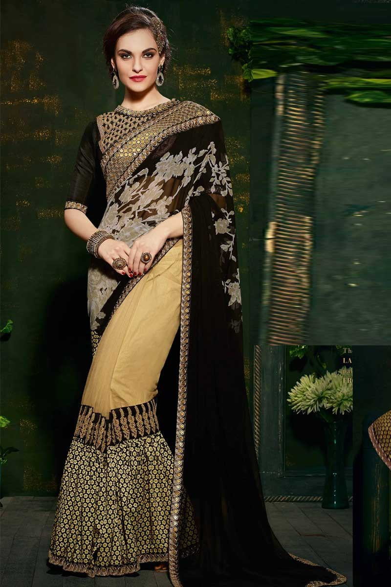 Cream And Black Georgette And Net Saree With Velvet Blouse Dmv10302