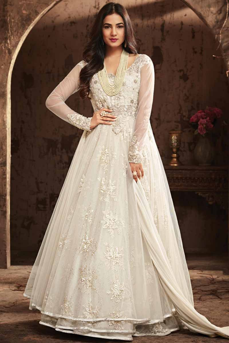 356f340c12 Buy White Net Embroidered Anarkali Suit Online - LSTV0789 | Andaaz Fashion
