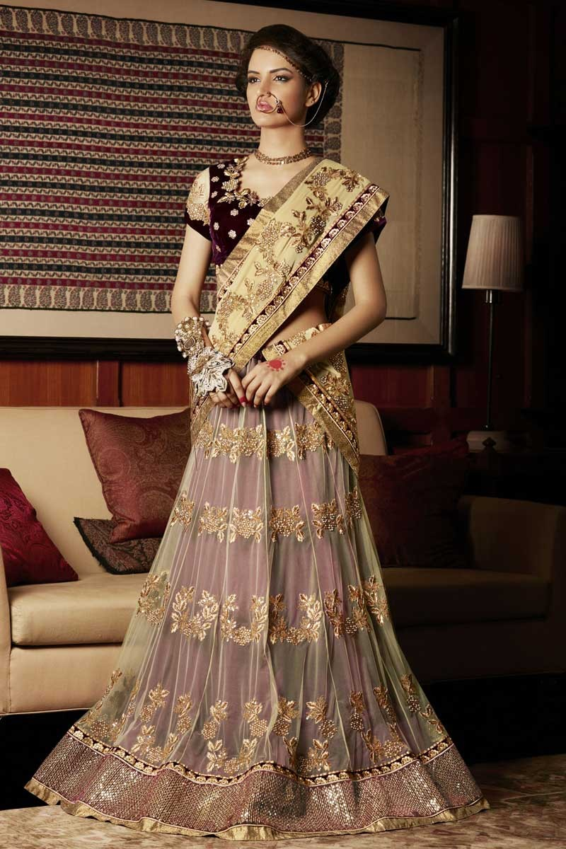 Latest Cream With Maroon Georgette And Net Saree With Velvet Blouse Online Dmv8974