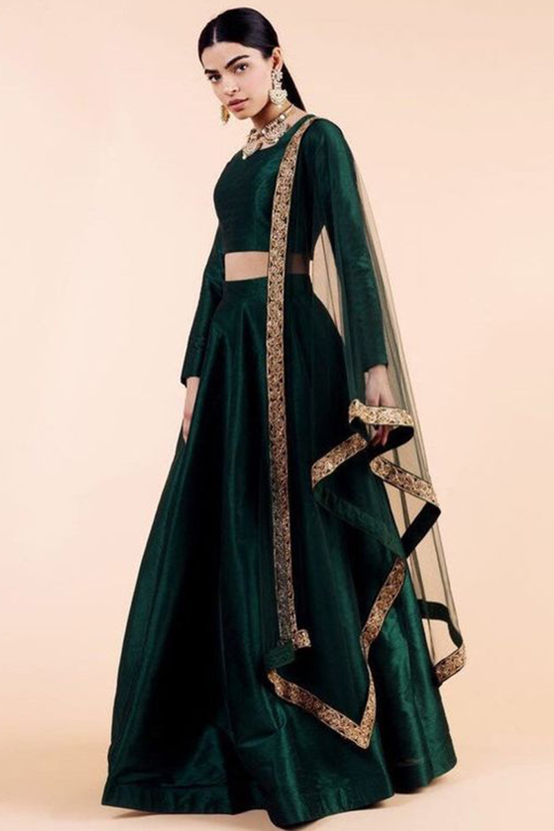 Dark Green Silk Lehenga With Silk Choli