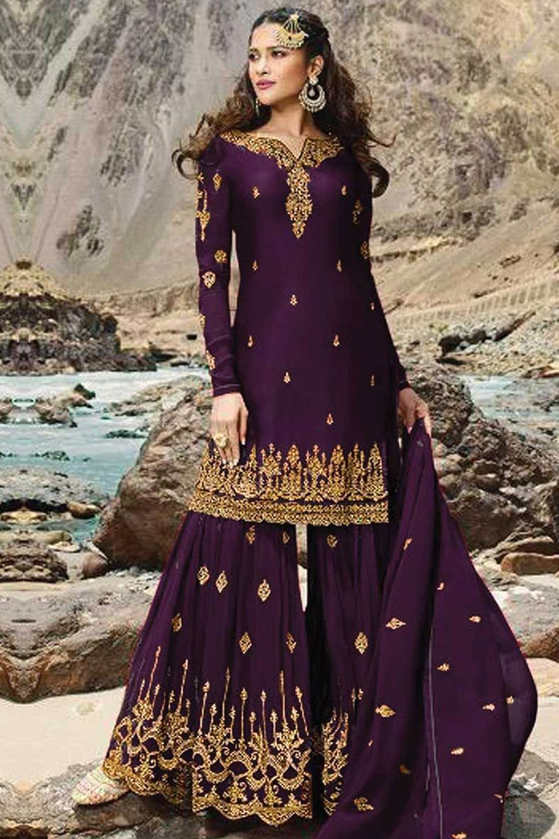 Dark Purple Georgette Sharara Suit With Stone Work