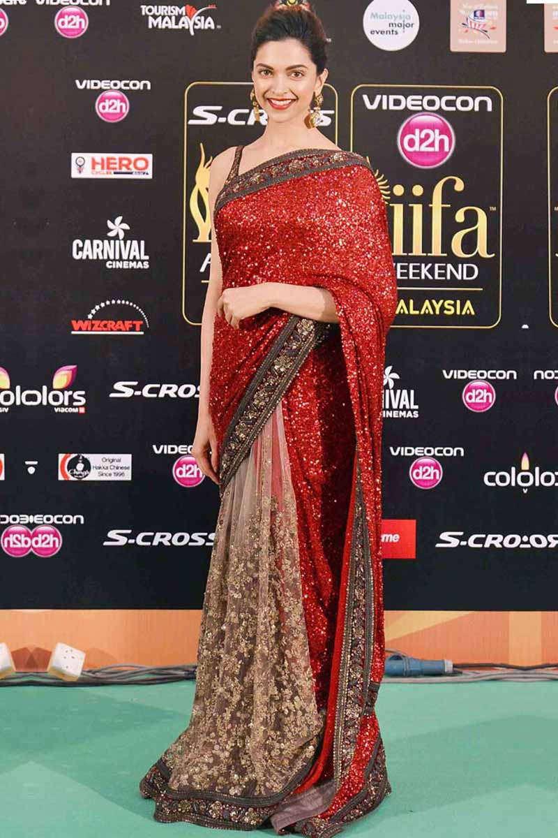 Deepika Padukone Tomato Red Net Saree With Sequence Blouse