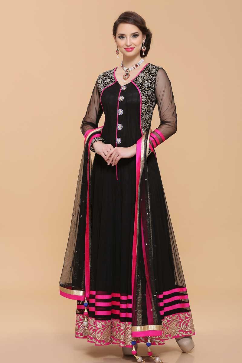 Anarkali Dresses - Black Net Anarkali Churidar Suit Online USA, UAE, Canada, Australia