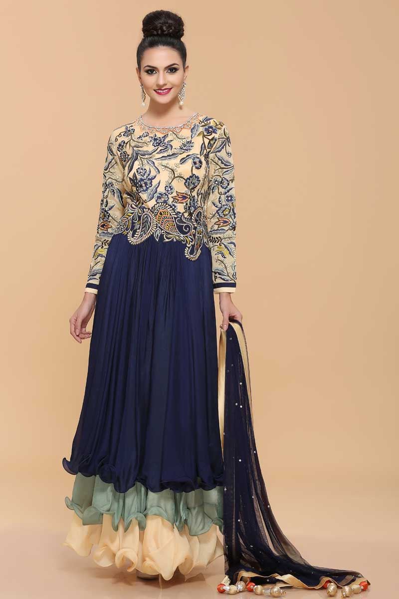 Blue Crepe Anarkali Style Gown Dress