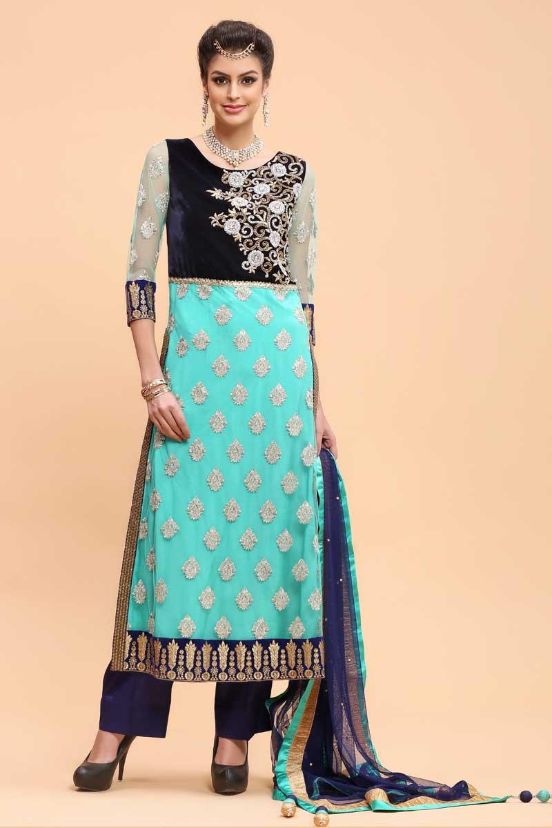 Online wedding, Trouser net suits for eid, Firozi Green resham ...