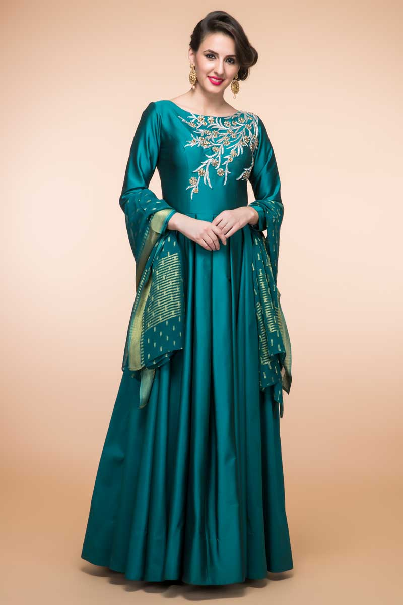 Silk Anarkali Churidar Suit In Teal Green Colour