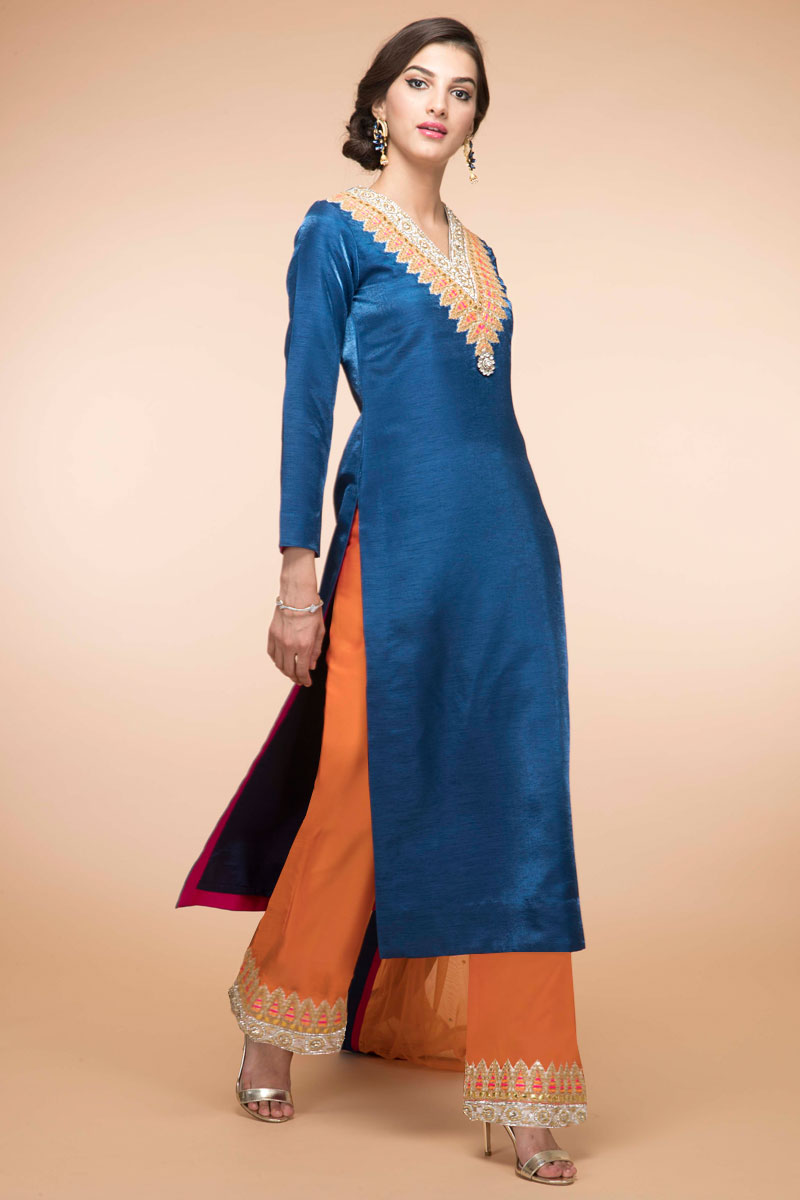 Peacock Blue Banglori Silk Trouser Suit With Dupatta