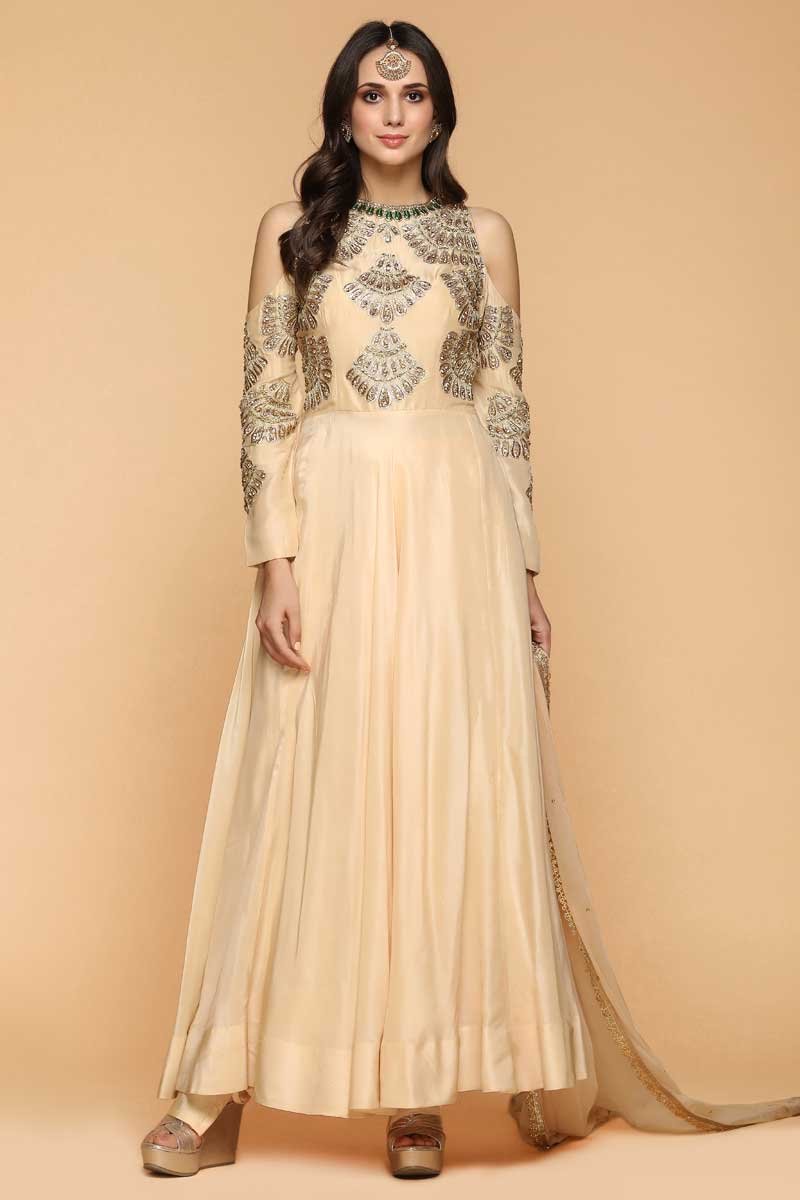 Beige Silk Anarkali Suit With Zari Work