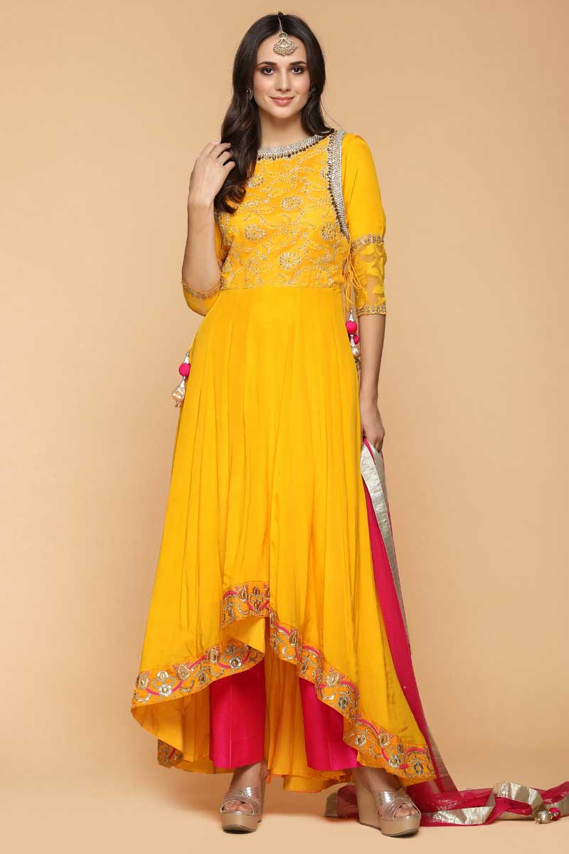 Pearl Embroidered Silk Tuscany Yellow Anarkalii Suit