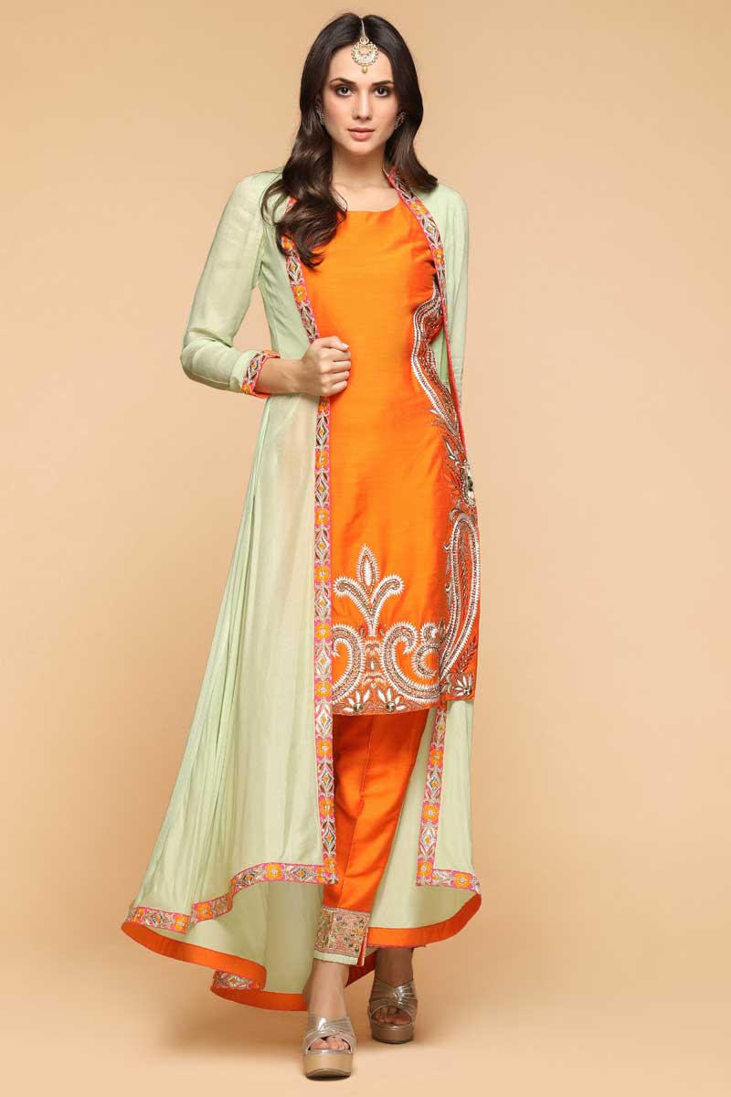 Slub Silk Tiger Orange Straight Pant Suit Orange And Green
