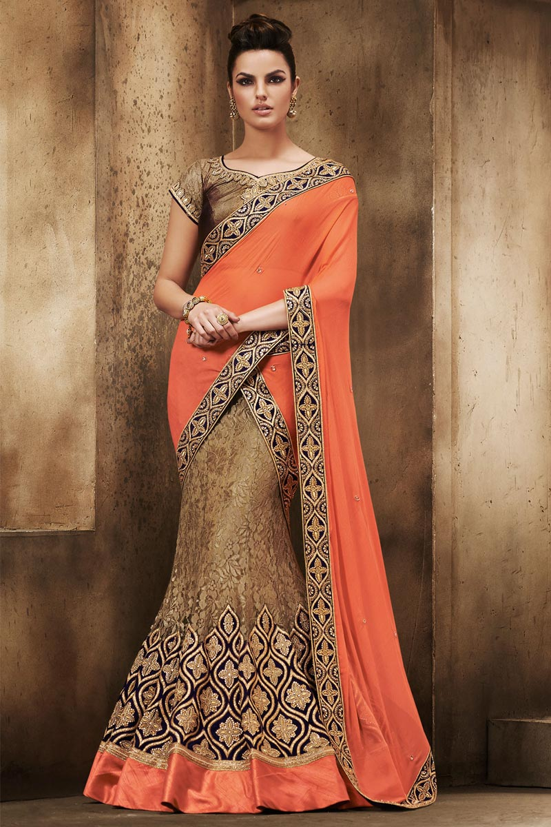 888555df98 Thumbnail Image of Brown and orange Chiffon and net Saree With Art silk  Blouse