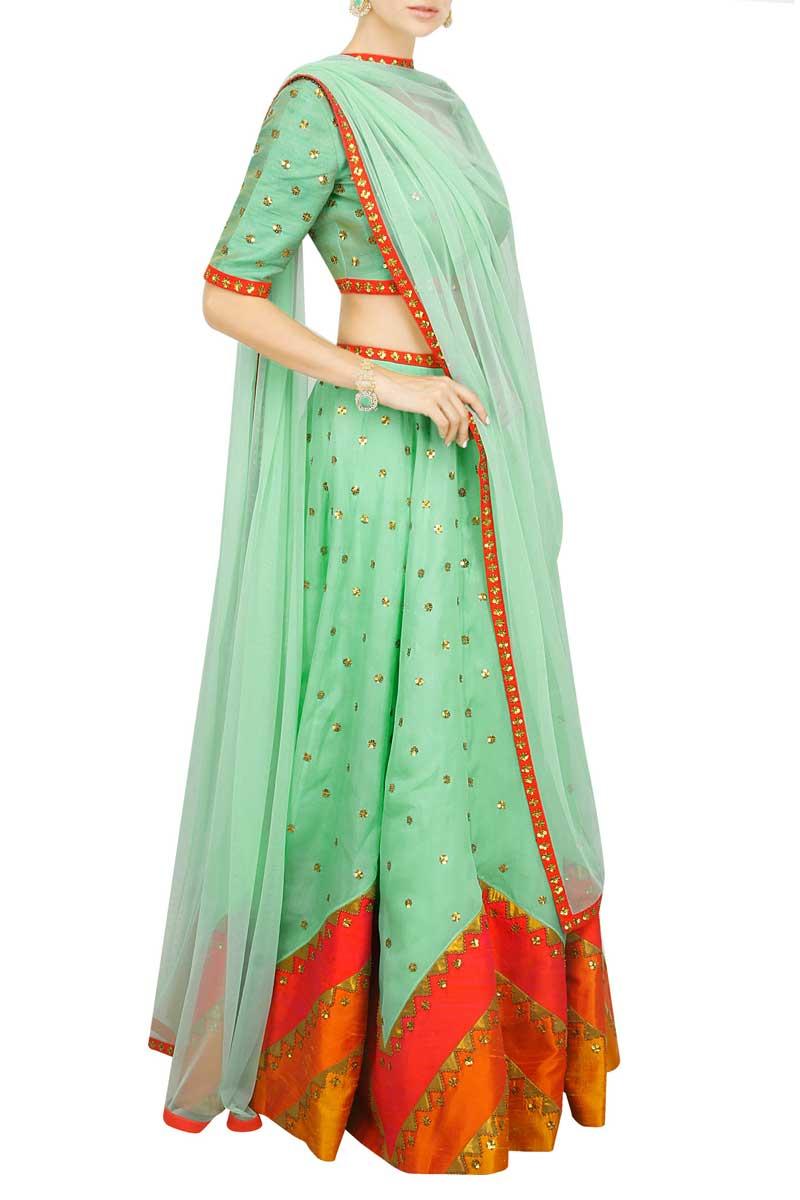 Light Green Art Silk Lehenga With Art Silk Choli