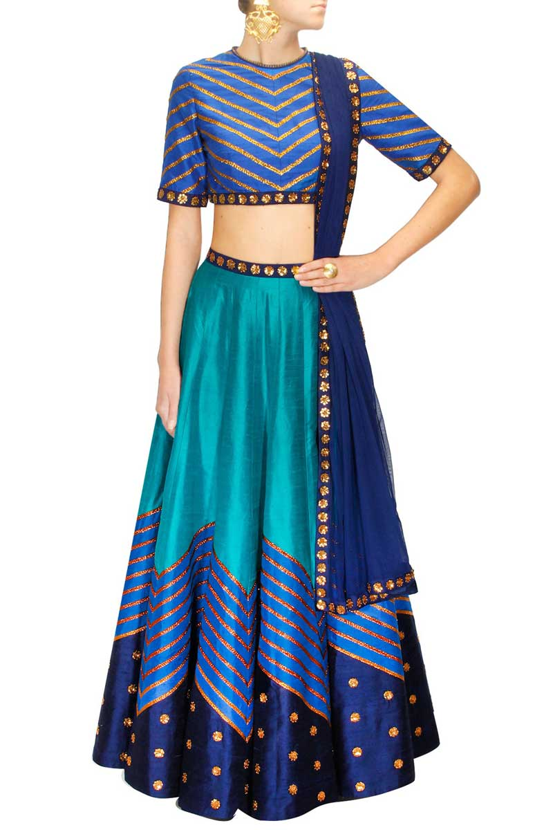 Blue Raw Silk Lehenga With Raw Silk Choli