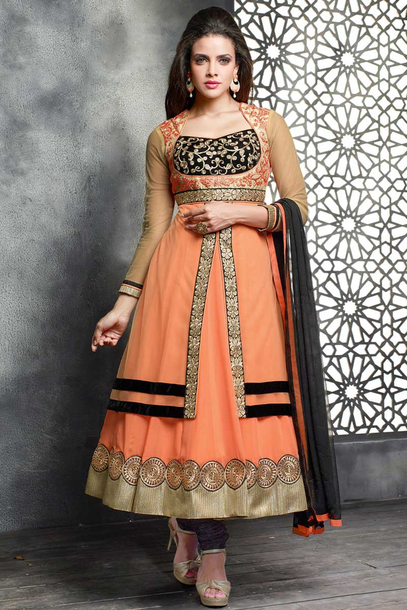 380f41396e9 Thumbnail Image of peach Georgette and net Anarkali churidar Suit With  Dupatta