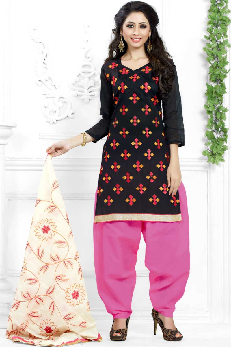 10c3dcf29a Thumbnail Image of Black Cotton Patiala Suit With Embroidered Dupatta