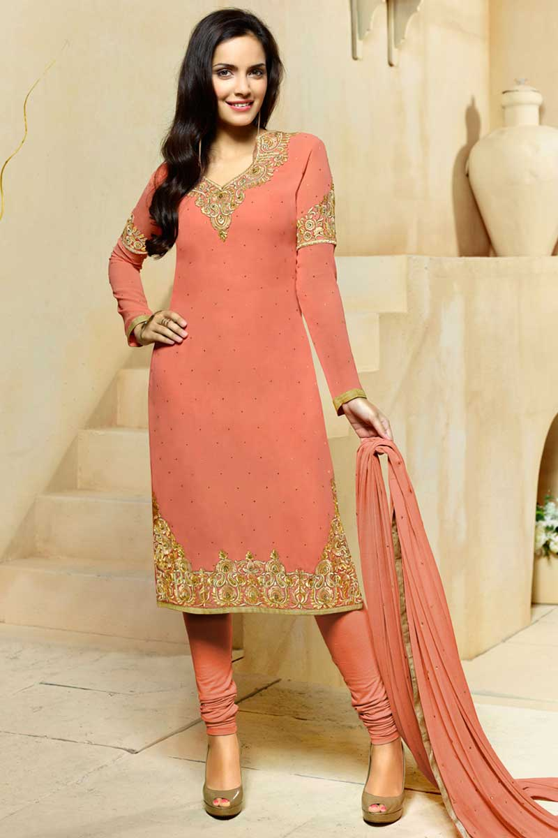 6f2f1d4f80 Peach Georgette Churidar Suit with Chiffon Dupatta - churidar suits ...
