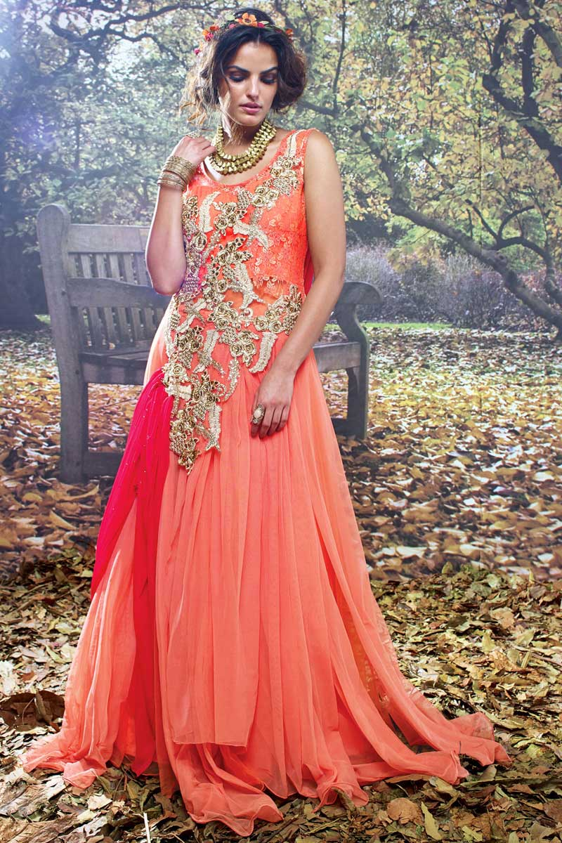 81778b27de5 Orange and Pink Net Brasso Embroidered Work Partywear Gown