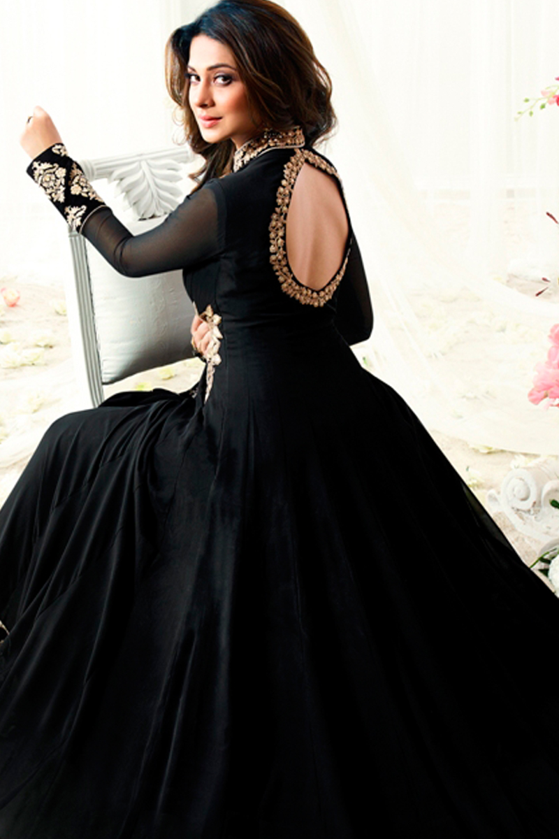 72feba086b Display Gallery Item 2; Thumbnail Image of Jennifer Winget Black Georgette  And Silk Anarkali Suit With Dupatta
