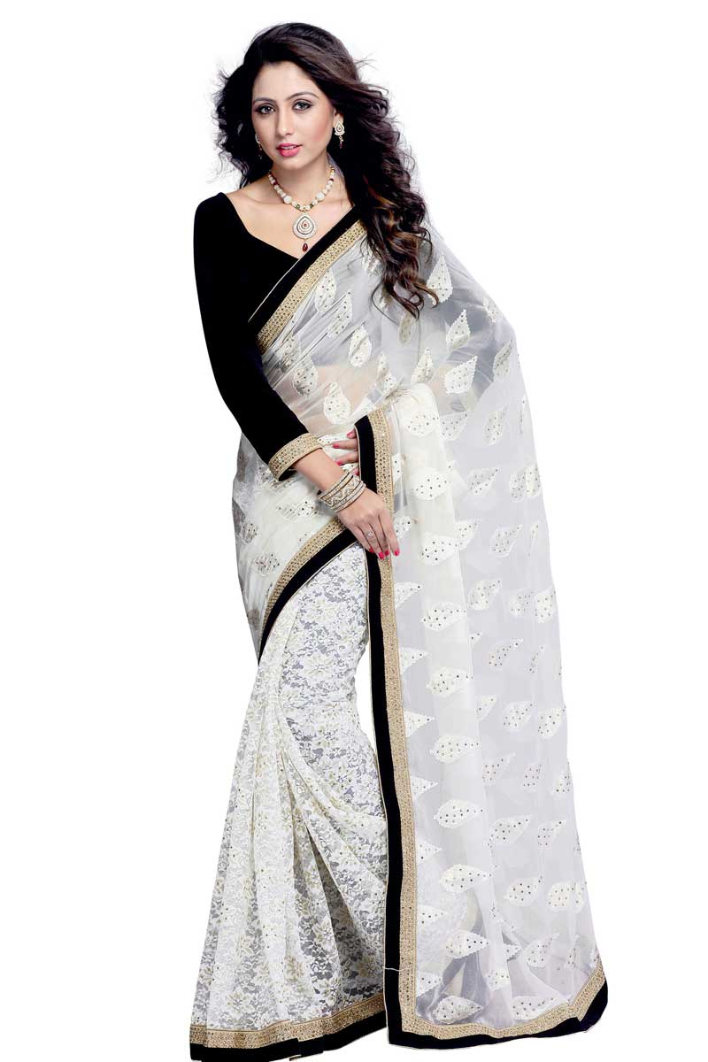 485ed8699f40ae Looking for latest saree, Off White brasso saree, V neck blouse