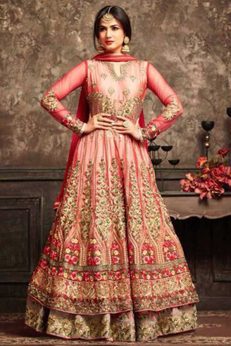 Net Anarkali Suit With Dupatta Red Color