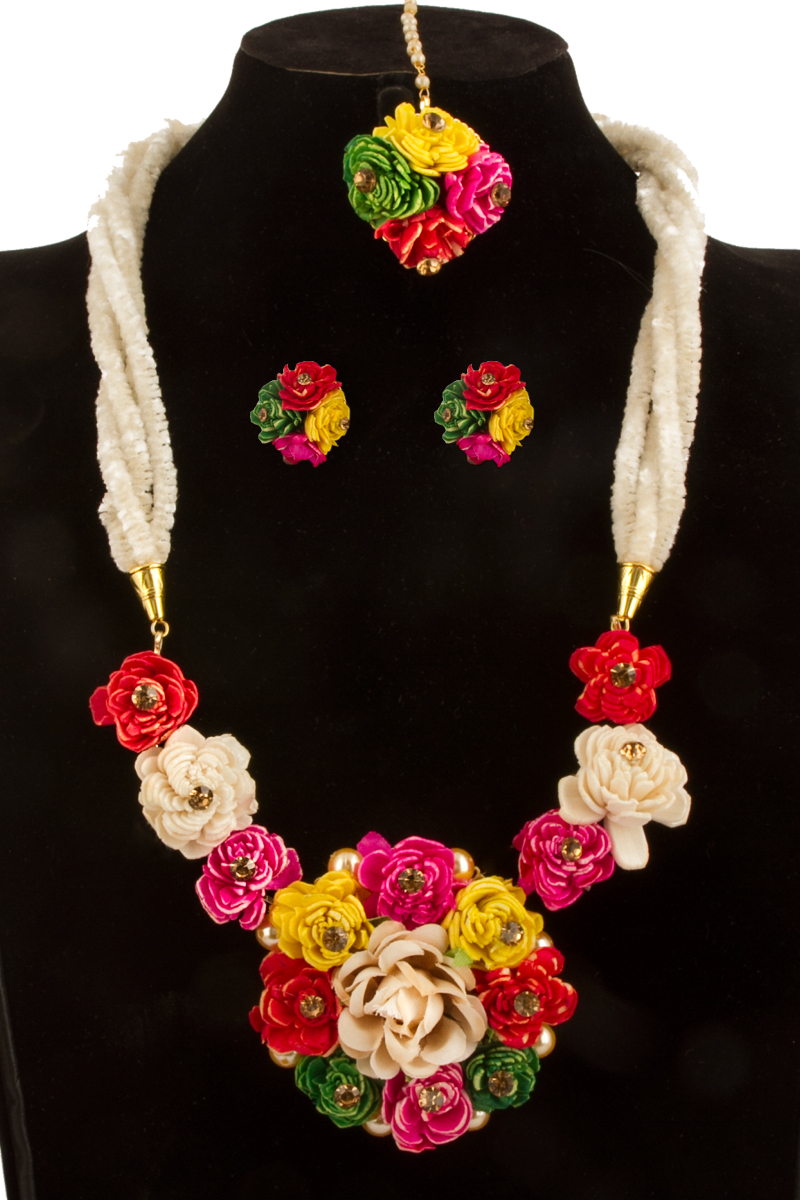 Flower Necklace Set with Jhumka Earring and Tika - 81082