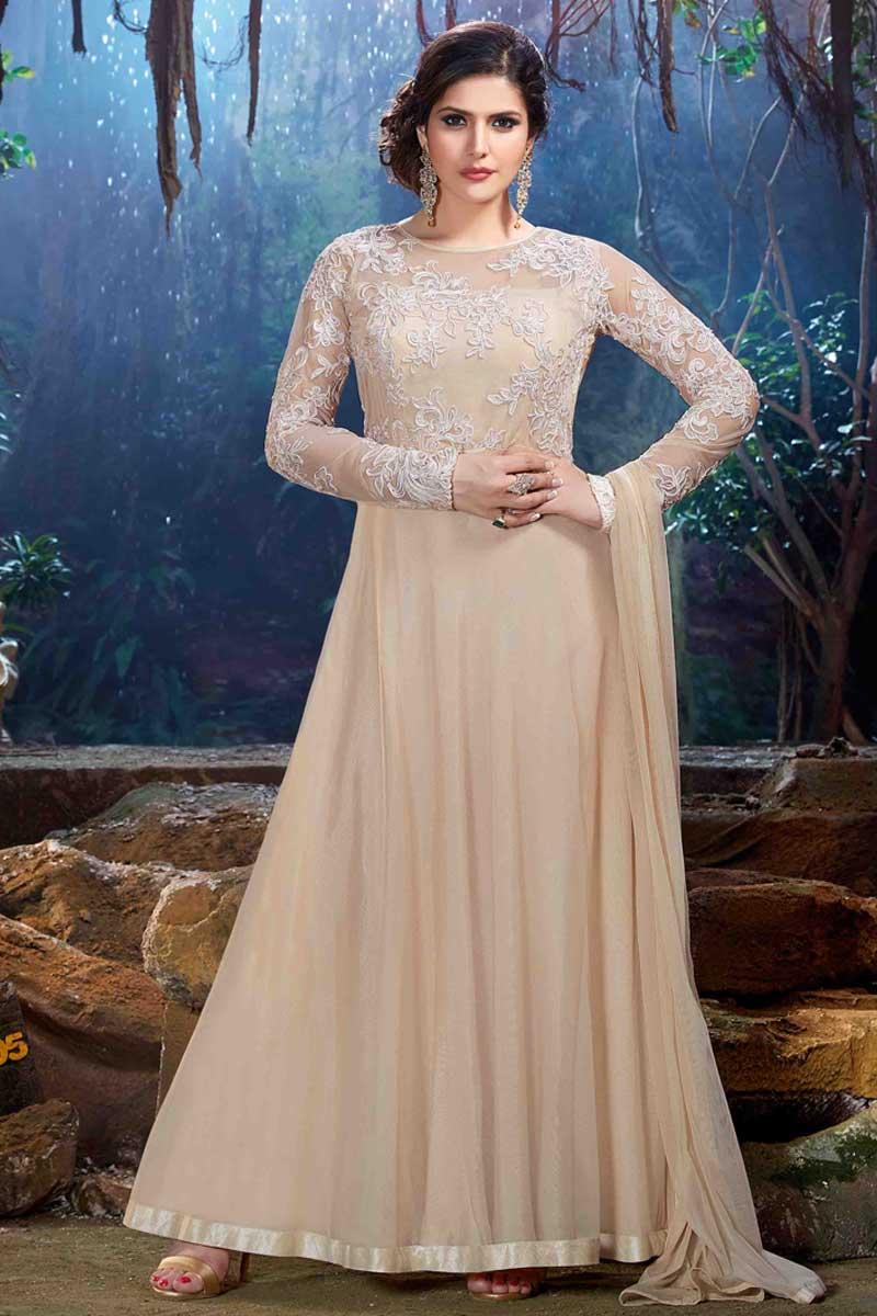 915b37165c Thumbnail Image of Zarin Khan Long Length Cream Soft Net Anarkali Suit