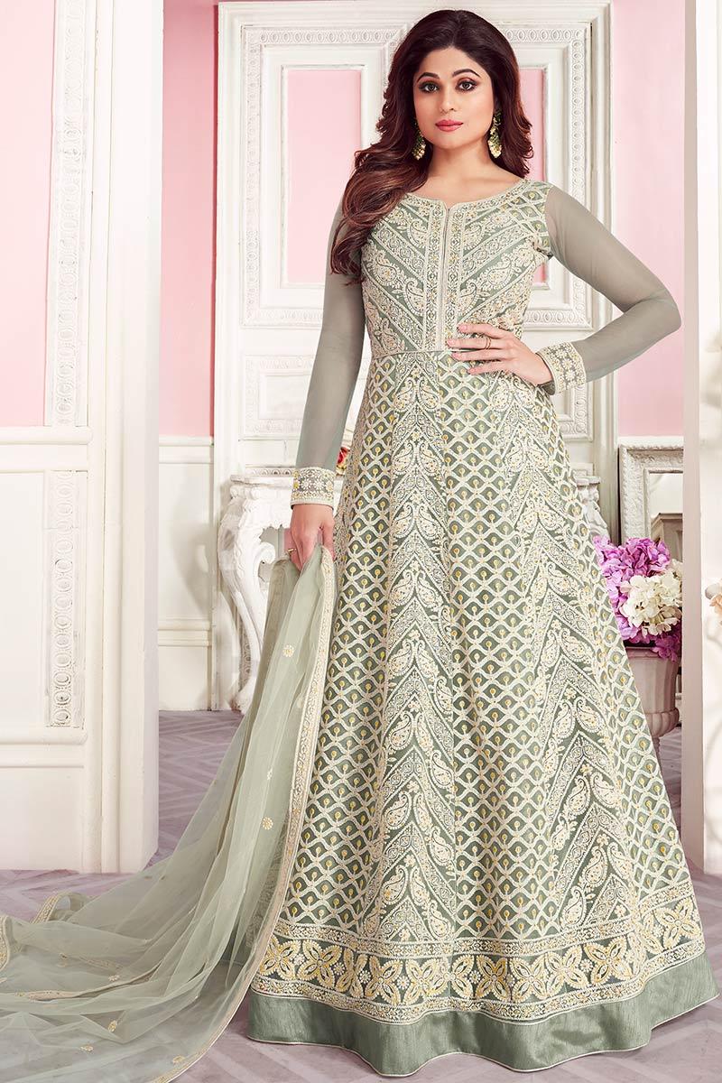 Dusty Green Net Anarkali Suit With Lakhnavi Work