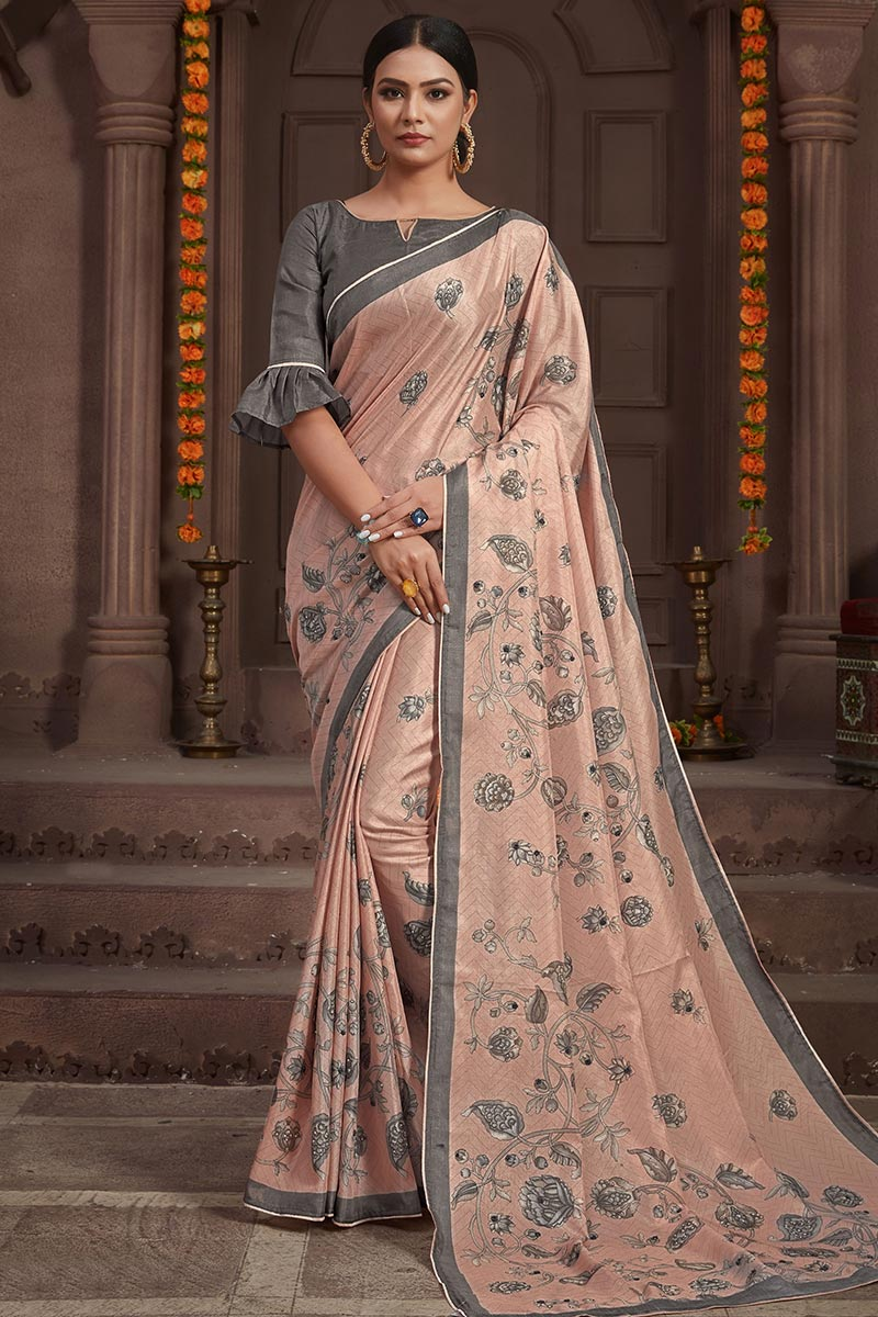 Dusty Pink Handloom Saree With Cotton Blouse
