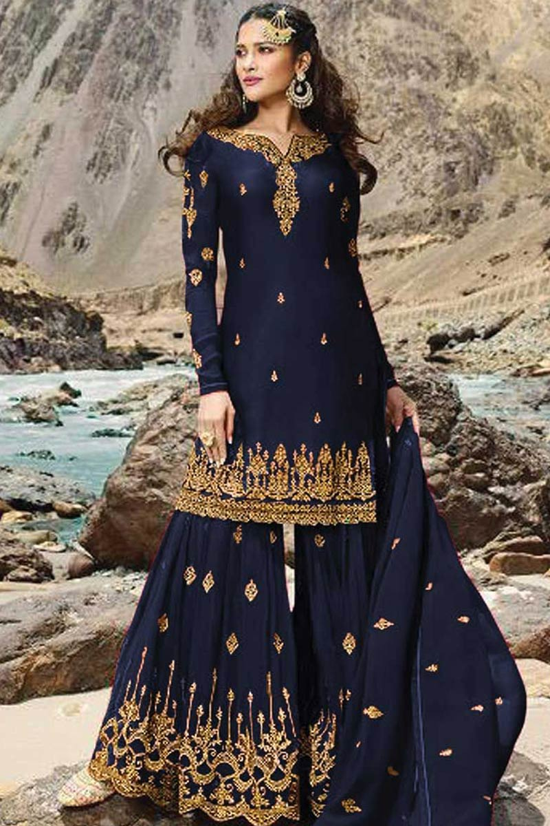 Pakistani Sharara - Embroidered Georgette Sharara Suit In Navy Blue Colour
