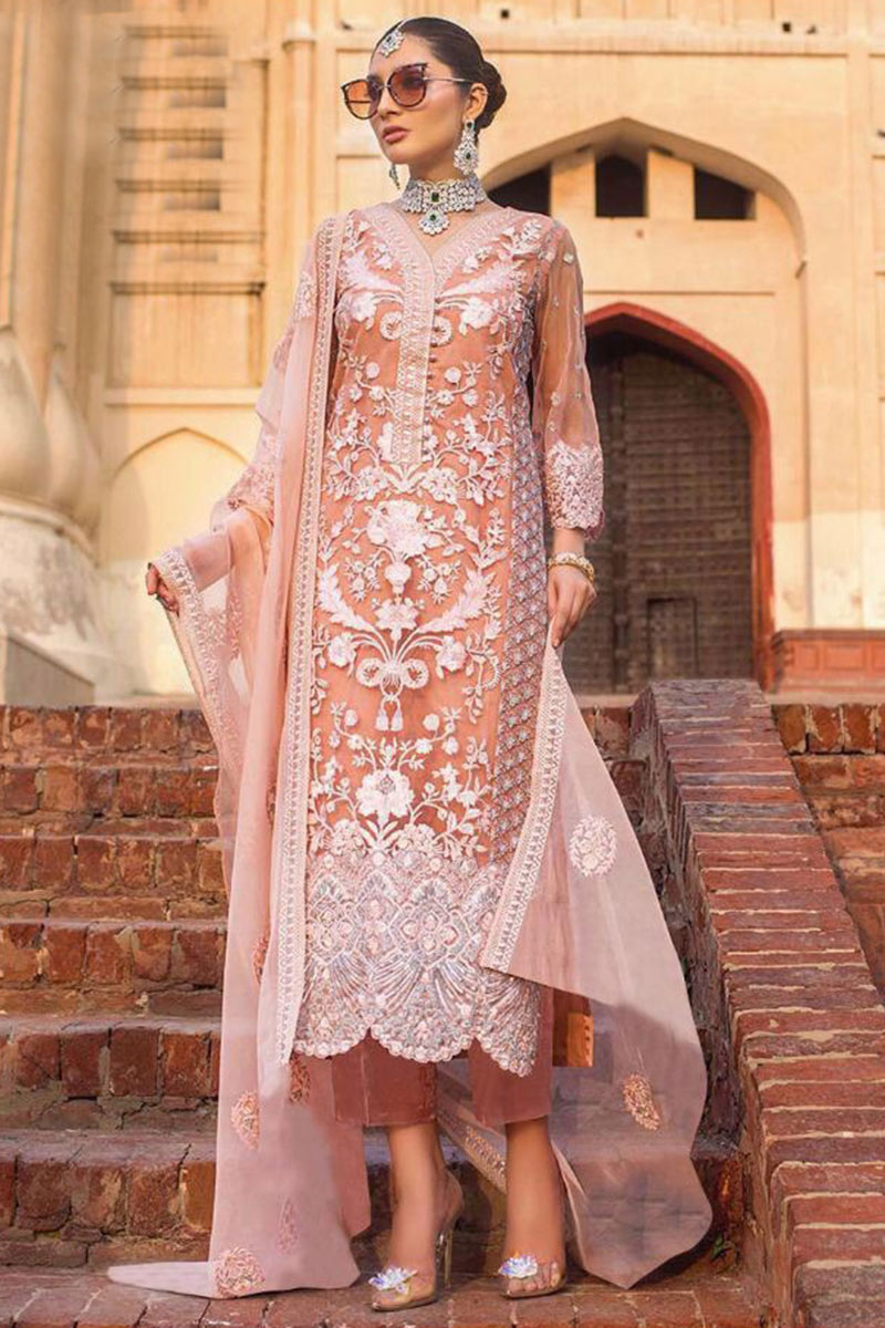 Trouser Suits Online USA - Embroidered Net Trouser Suit In Peach Colour