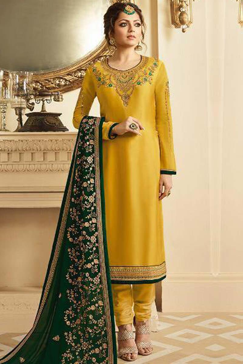 Georgette Embroidered Mustard Color Churidar Suit
