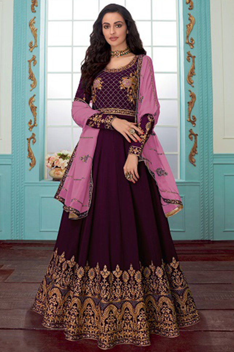 Georgette Anarkali Suits Online USA - Georgette Wedding Anarkali Suit In Dark Purple Colour