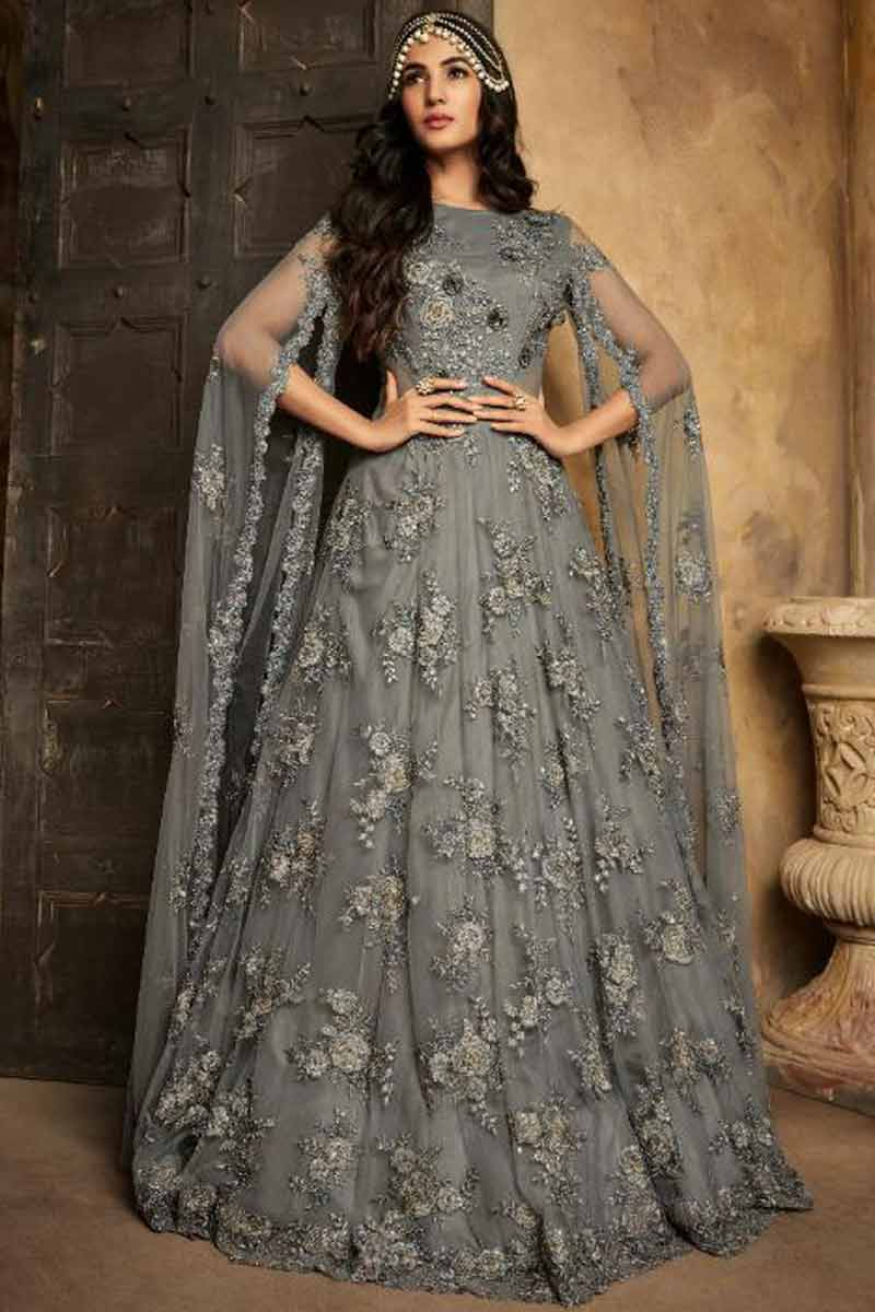 Net Anarkali Suit In Iron Grey Color